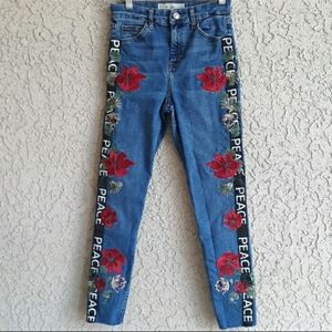 Topshop Embroidered Moto Jeans